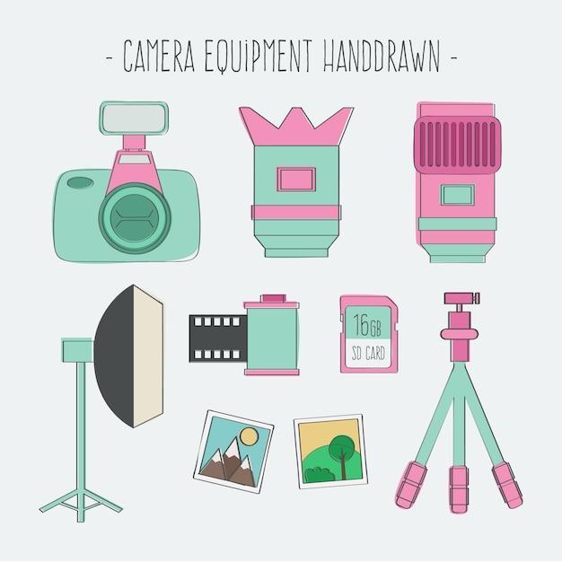 Cute sketchy camera equipment