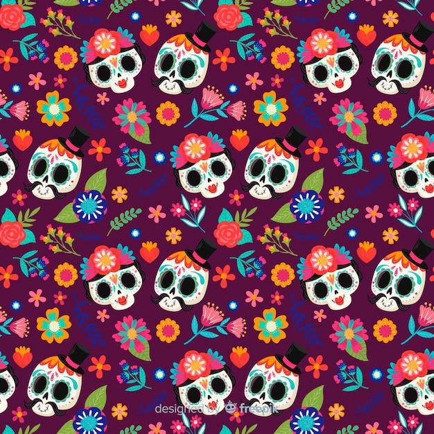 Cute skull couples hand drawn día de muertos pattern Free Vector