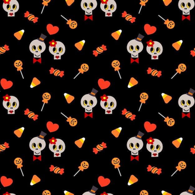 Cute skull and halloween candy seamless pattern. Premium Vector