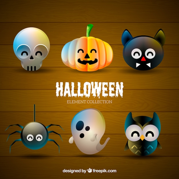 Cute Skull, Pumpkin, Black Cat, Spider, Ghost And Owl For Halloween Design