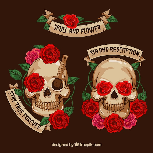 Cute skulls with decorative flowers Free Vector