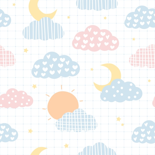 Cute sky cloud and stars cartoon seamless pattern Premium Vector