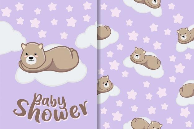 Cute sleep bear animal hand drawn baby pattern set Premium Vector