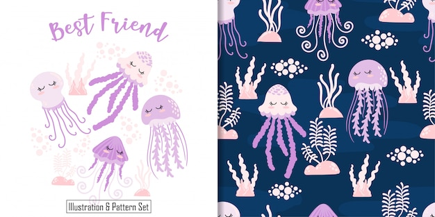 Cute sleep jellyfish card hand drawn seamless pattern set Premium Vector