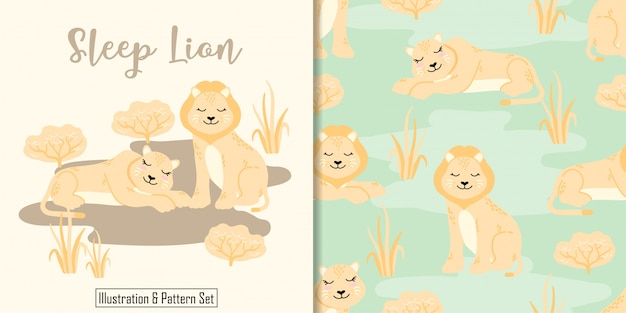 Cute sleep lion  card hand drawn seamless pattern set Premium Vector