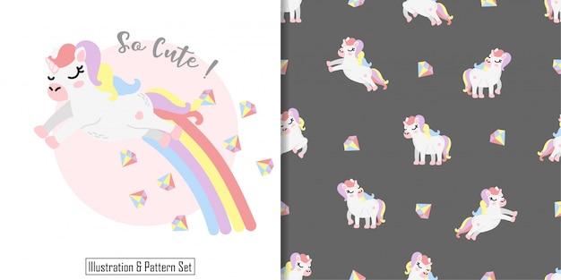 Cute sleep unicorn rainbow card hand drawn seamless pattern set Premium Vector