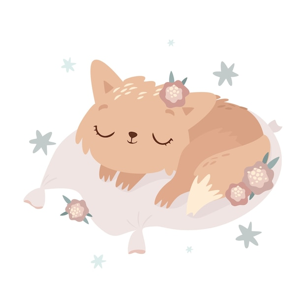 Cute sleeping cat illustration Free Vector