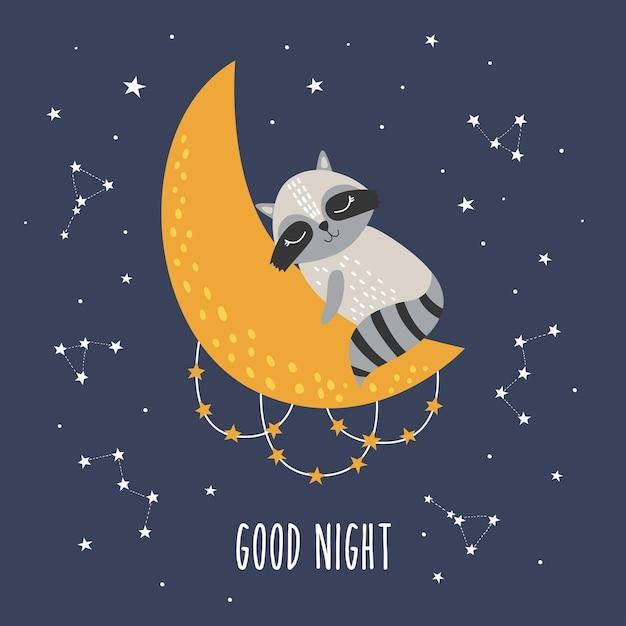 달과 별과 귀여운 잠자는 너구리 프리미엄 벡터
