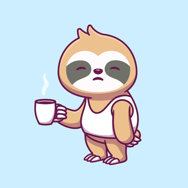 Cute sleepy sloth holidng cup coffee cartoon icon illustration. Premium Vector