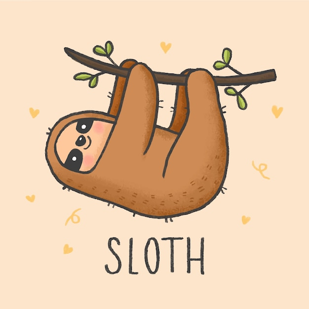 It is a graphic of Juicy Sloth Drawing Cute