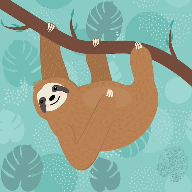 Cute sloth character hanging on a tree Premium Vector