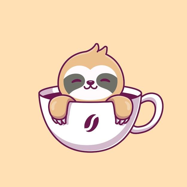 Cute sloth in the coffee cup cartoon vector icon illustration. Premium Vector