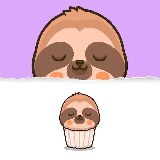 Cute sloth cupcake, animal character design. Premium Vector