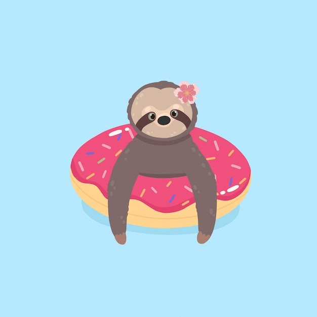 Cute sloth on donut inflatable float. sloth in the swimming pool. Premium Vector