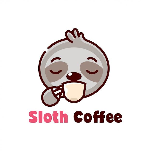 Cute sloth drinks a cup of coffee cartoon logo Premium Vector