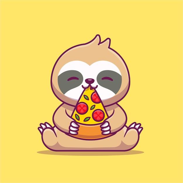 かわいいナマケモノを食べるピザ漫画アイコンイラスト。 Premiumベクター