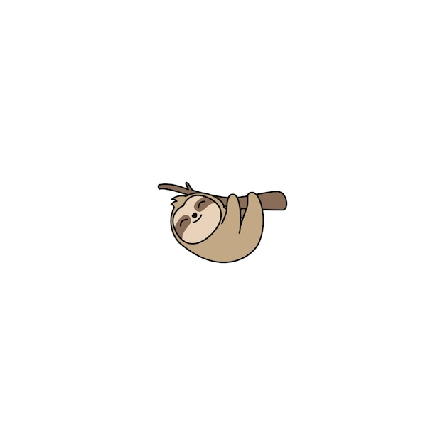 Cute sloth hanging on a branch cartoon Premium Vector