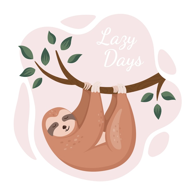 Cute sloth hanging on tree in a jungle. Premium Vector