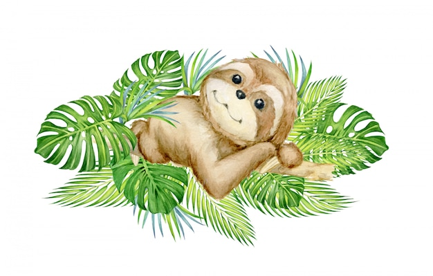 Cute sloth, lying on a tree, surrounded by tropical leaves. watercolor concept. Premium Vector