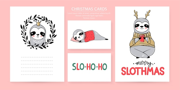 Cute sloth, merry christmas cards collection. doodle lazy sloths bears and lettering inscriptions. happy new year and xmas animals set. Premium Vector