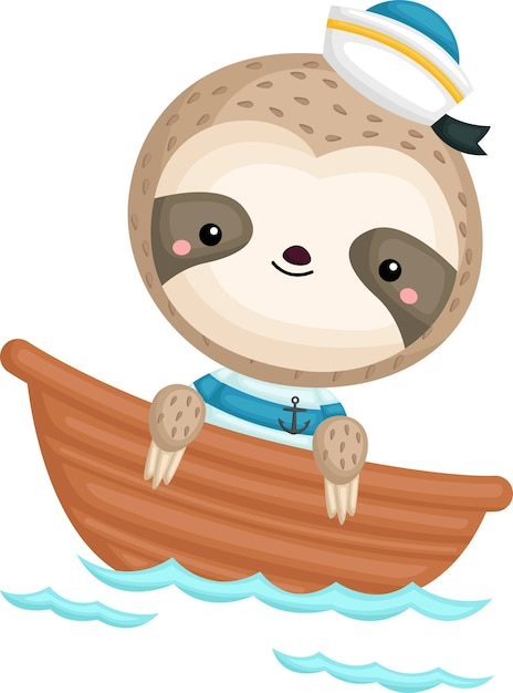 A cute sloth in a sailor costume Free Vector