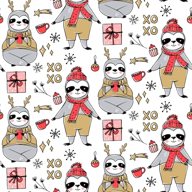 Cute sloth seamless pattern, winter cozy background. doodle lazy sloth bear with ugly sweater, cup of coffee. cute holidays design, print, wrapping paper. Premium Vector