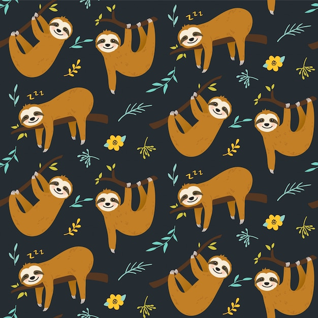 Cute sloth seamless pattern Premium Vector
