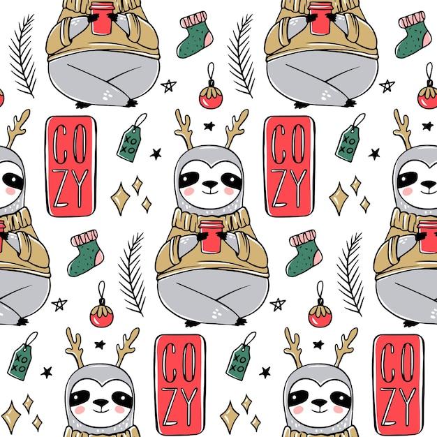Cute sloth seamless pattern Premium Vector