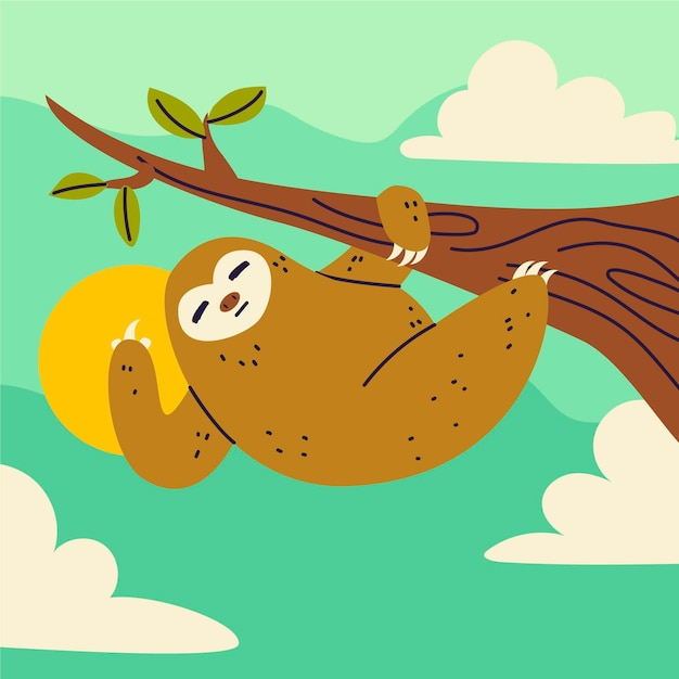 Симпатичный ленивец показывает свой символ Бесплатные векторы