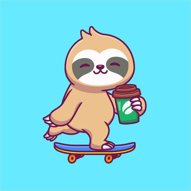 귀여운 나무 늘보 스케이트 보드와 커피 만화 그림을 들고. 동물 식품 및 음료 개념 절연입니다. 플랫 만화 무료 벡터