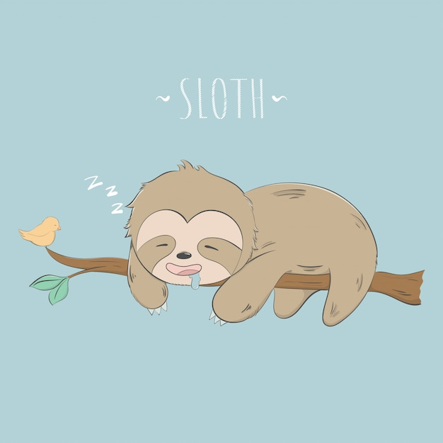 Cute sloth sleep on the tree pastel cartoon Premium Vector