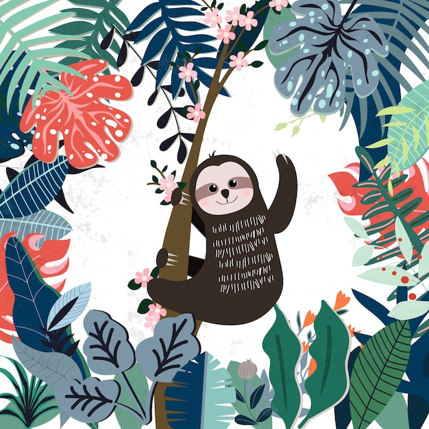 Cute sloth in spring forest pattern Premium Vector