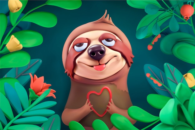 Cute sloth in thickets of tropical plants Premium Vector