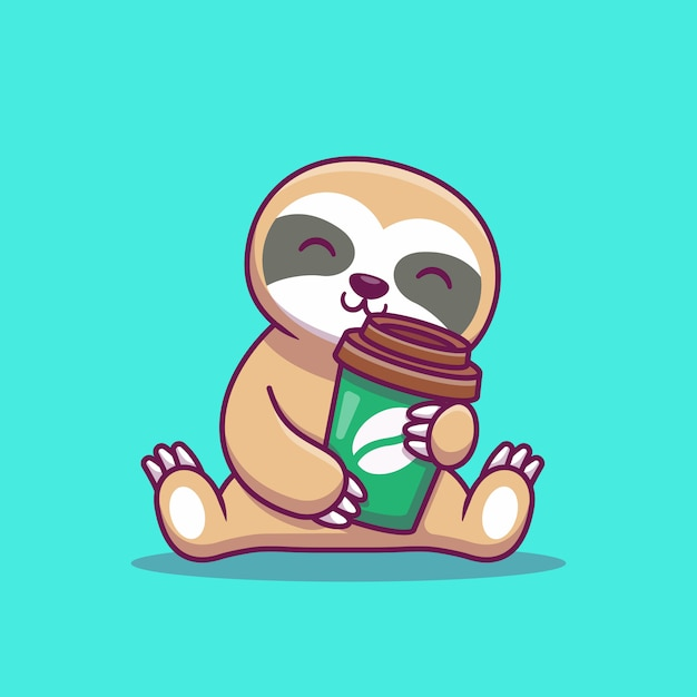 Cute sloth with coffee cartoon   icon illustration. animal icon concept isolated  . flat cartoon style Premium Vector