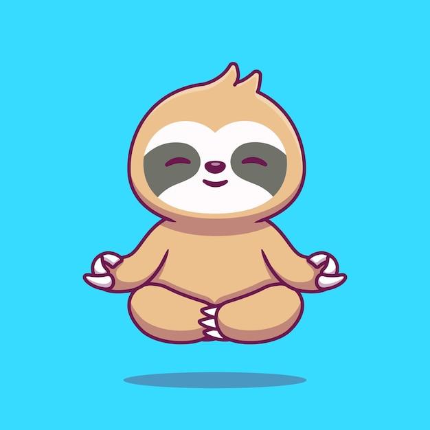 Симпатичные ленивец йоги мультфильм значок иллюстрации. Бесплатные векторы