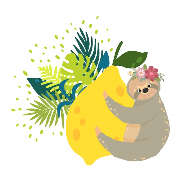 Cute sloths on the yellow lemons surrounded by tropical leaves. Premium Vector