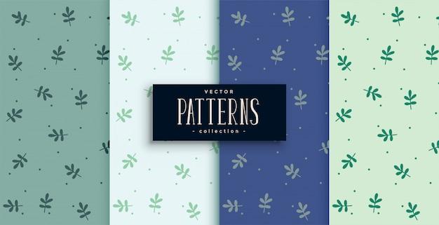 4つの色合いのかわいい小葉パターン 無料ベクター