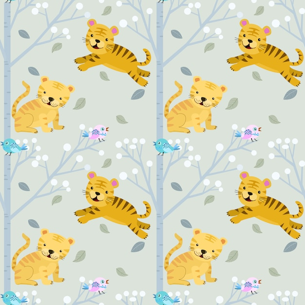 Cute small tiger in forest seamless pattern. Premium Vector