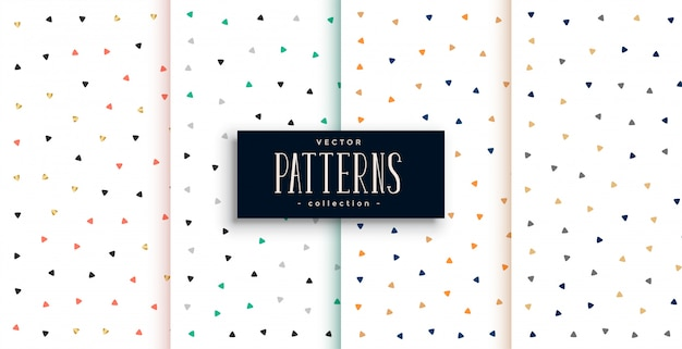 Cute small triangles pattern on white background set Free Vector