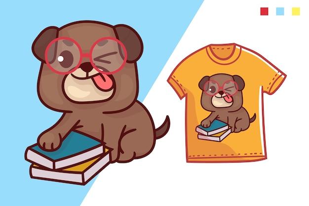 귀여운 스마트 개 티셔츠 템플릿 디자인 프리미엄 벡터
