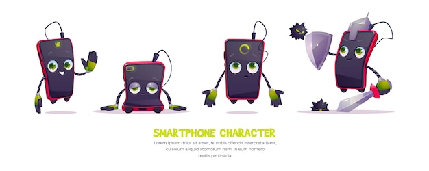 Cute smartphone character in different poses Free Vector