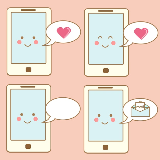 Cute smartphone icons, design elements. kawaii smiling mobile phone character with speech bubbles Premium Vector