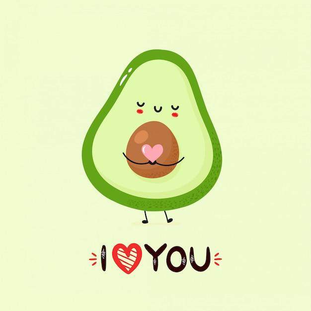Симпатичная улыбающаяся открытка с авокадо Premium векторы