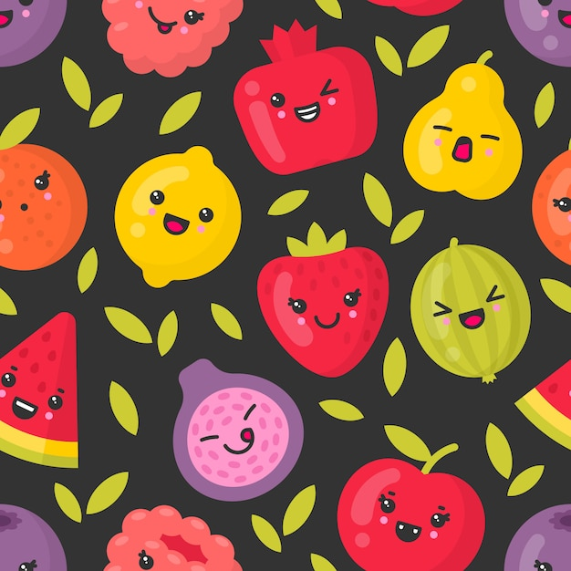 Симпатичные улыбающиеся фрукты, вектор бесшовные узор на темном фоне Premium векторы