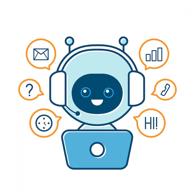 Cute smiling robot,chat bot and communication signs. modern flat cartoon character illustration.isolated on white .speak bubble.voice support service communication chat bot Premium Vector