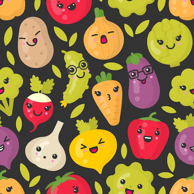 Симпатичные улыбающиеся овощи, бесшовные модели на темном фоне. лучше всего подходит для текстиля, оберточной бумаги Premium векторы