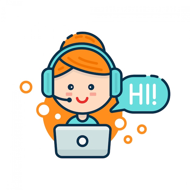 Cute smiling woman in call center. voice support, virtual online help support concept Premium Vector