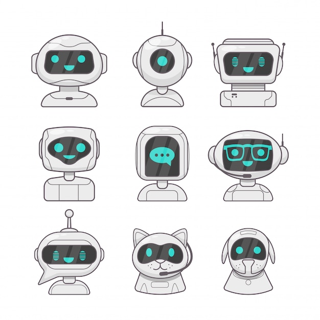 Cute smiling working chat bot Premium Vector