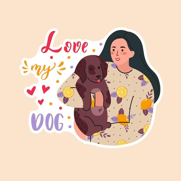Мило улыбается молодая девушка с собаками. прелестная женщина проводя время дома с ее животным. портрет счастливого владельца домашнего животного. плоский мультфильм иллюстрация с надписью люблю свою собаку Premium векторы