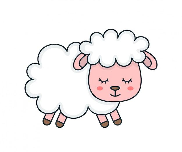 かわいい笑顔面白い眠っている甘い羊。フラットライン漫画キャライラストアイコンデザイン。 Premiumベクター